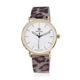 STRADA Japanese Movement Water Resistant Watch with Leopard Skin Pattern Mesh Chain Strap