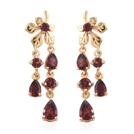 Mozambique Garnet (Pear) Floral Dangle Earrings (with Push Back) in 14K Gold Overlay Sterling Silver 5.000 Ct.