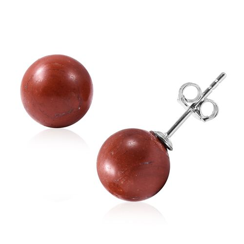 Red Jasper (Rnd) Earrings (with Push Back) in Rhodium Overlay Sterling Silver 9.00 Ct.