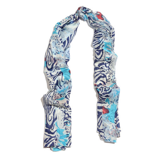 100% Mulberry Silk Blue, White and Multi Colour Printed Scarf (Size 180x100 Cm)