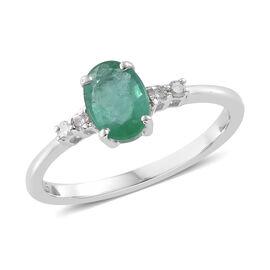 9K White Gold Kagem Zambian Emerald (Ovl) Diamond Solitare Ring  0.750 Ct.