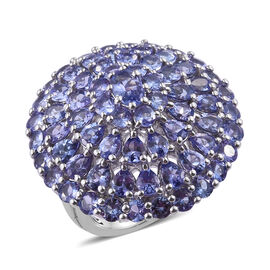 9 Carat Tanzanite Cocktail Ring in Platinum Plated Sterling Silver 10.25 Grams