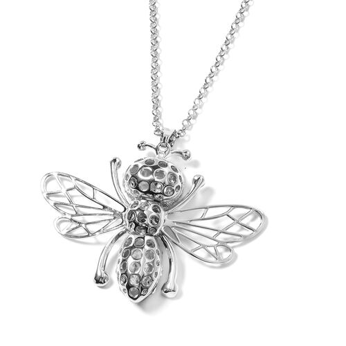 Close Out Deal -White Austrian Crystal (Rnd) Bee Pendant With Chain (Size 28 with 2.50 inch Extender)  in Silver Plated with Enameling.