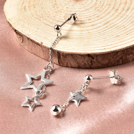Platinum Overlay Sterling Silver Star Dangle Earrings (with Push Back)