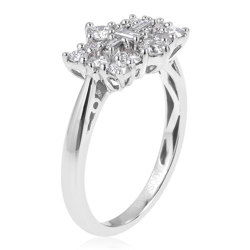 ILIANA 18K W Gold IGI Certified Diamond (Bgt) (VS-SI / G-H) Boat Cluster Ring 1.000 Ct.