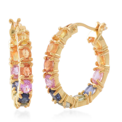 Rainbow Sapphire (Ovl) Hoop Earrings (with Clasp) in 14K Gold Overlay Sterling Silver 5.500 Ct. Silv