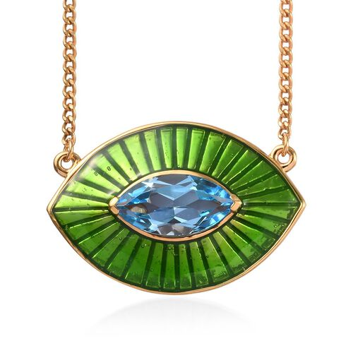GP 3.02 Ct Swiss Blue Topaz and Blue Sapphire Enamelled Eye Necklace in Gold Plated Silver 20 Inch