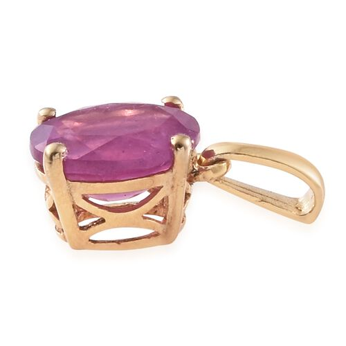 Super Auction- Rare Size Madagascar Hot Pink Sapphire (Ovl) Solitaire Pendant in 14K Gold Overlay Sterling Silver 2.500 Ct.