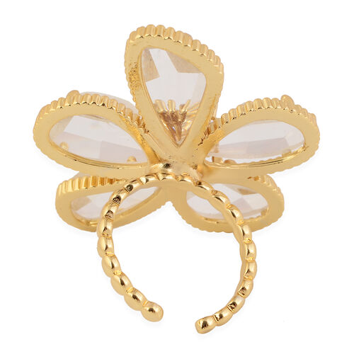 Simulated Diamond Floral Ring in Yellow Gold Tone