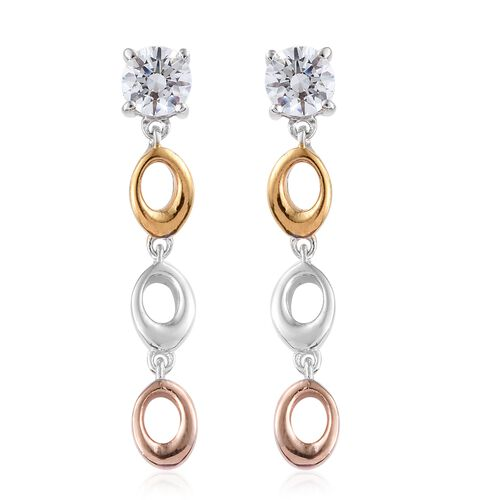 J Francis - Yellow Gold, Rose Gold and Platinum Overlay Sterling Silver (Rnd) Earrings (with Push Back) Made with SWAROVSKI ZIRCONIA