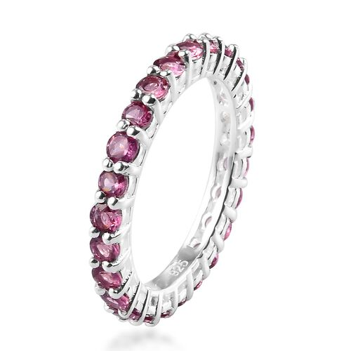 Lotus Garnet Eternity Ring in Sterling Silver 2.00 Ct.
