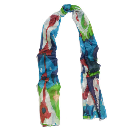 100% Mulberry Silk Blue, Green and Multi Colour Printed Scarf (Size 180x50 Cm)