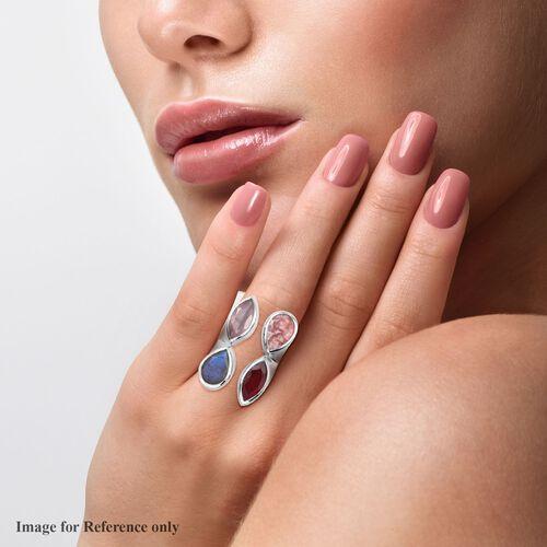 Sundays Child - Rhodochrosite, Rose Quartz and Multi Gemstone Ring in Platinum Overlay Sterling Silver 18.75 Ct, Silver wt. 12.70 Gms