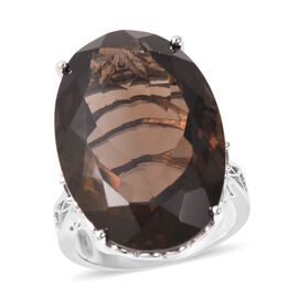 43.32 Ct Brazilian Smoky Quartz and Boi Ploi Black Spinel Solitaire Ring in Rhodium Plated Silver