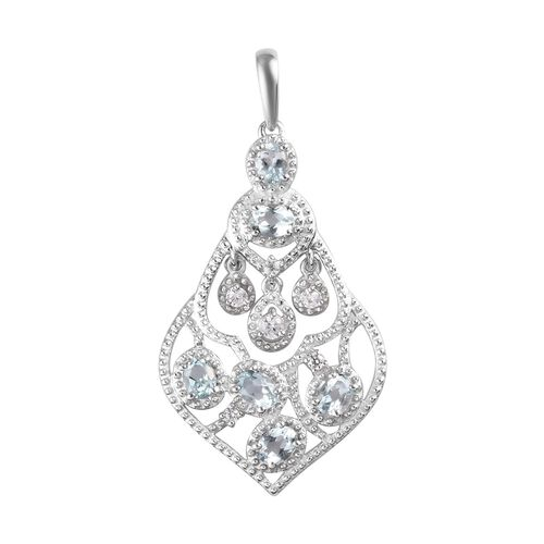 AA Santa Teresa Aquamarine and Natural Cambodian Zircon Pendant in Platinum Overlay Sterling Silver