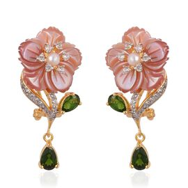 JARDIN COLLECTION - Pink Mother of Pearl, Fresh Water White Pearl and Multi Gemstones Floral Earrings (with French Clip) in Rose Gold and Rhodium Overlay Sterling Silver 11.270 Ct.