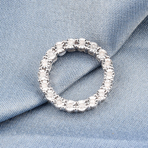 GP Diamond and Blue Sapphire Circle Pendant in Platinum Overlay Sterling Silver Pendant