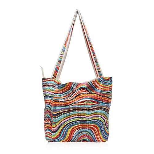 100% Cotton Kantha Embroidered Ripple Pattern Hand Bag with Zip Closure (Size 33x16x36 Cm) - Multico