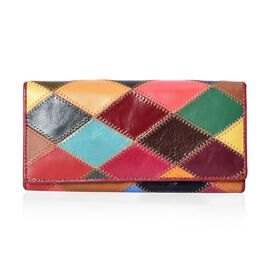 100% Genuine Leather One Time Close Out Deal Multi Colour Wallet (Size 18.5x3x9 Cm) - Checkered
