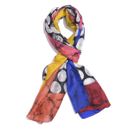 100% Mulberry Silk Black, White and Multi Colour Handscreen Circle Pattern Scarf (Size 180x90 Cm)