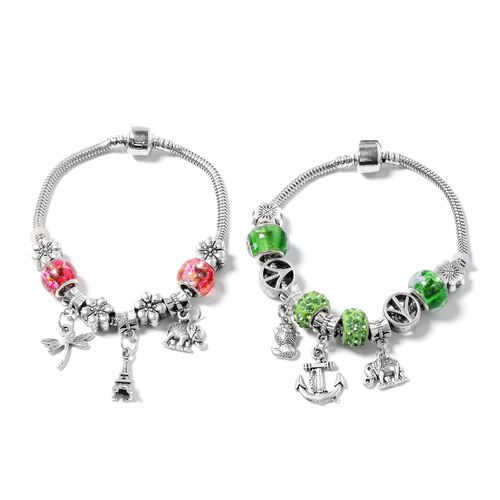 One Time Deal - Set of 2 - Green and Red Austrian Crystal and Murano Style Glass Bracelet (Size 7.50) with Multi Charm in Black Oxidised Silver Plated.