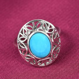 Sleeping Beauty Turquoise Solitaire Ring in Platinum Overlay Sterling Silver 2.25 ct,  Sliver Wt. 5.28 Gms  2.250  Ct.