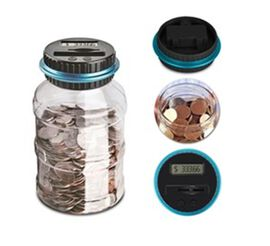 Glowing Digital Coin Counting Money Jar (Size  11.5x11.5x20.5) - Black and Blue