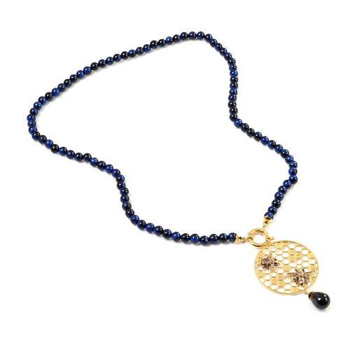 Sundays Child - Blue Tiger Eye and Hawks Eye Detachable Beaded Necklace (Size 22) in 14K Gold Overla