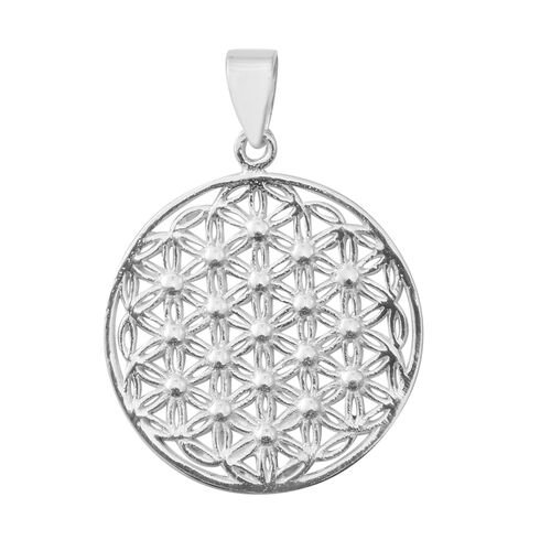 Designer Inspired- Sterling Silver Diamond Cut Flower of Life Pendant