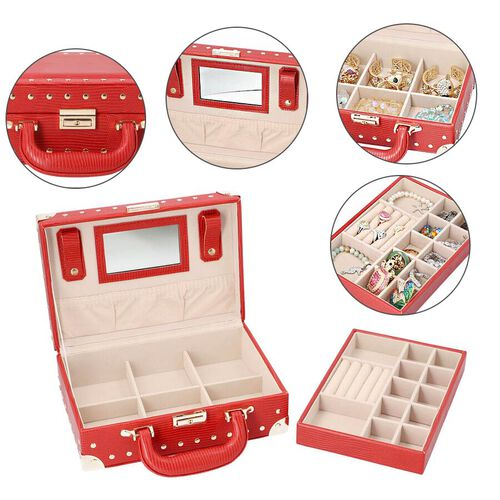 Grace Collection - Briefcase Design Lizard Skin Pattern Two Layer Anti-Tarnish Jewellery Storage Box with Inside Mirror, Removable Tray and Velvet Lining (Size 25x17.5x9.5cm) - Red