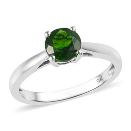 9K White Gold AAA Russian Diopside (Rnd) Solitaire Ring 0.900 Ct.