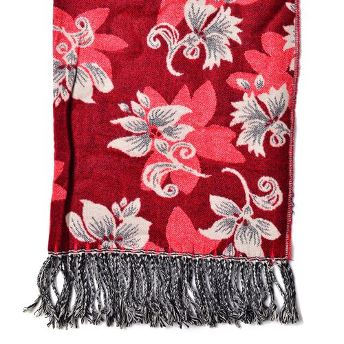 White Colour Floral Pattern Red Colour Reversible Scarf with Tassels (Size 180x65 Cm)