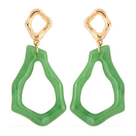 21.50 Ct Green Jade Dangle Earrings in Yellow Gold and Rhodium Plated Sterling Silver