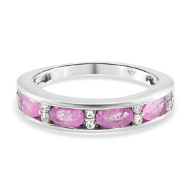 Pink Sapphire and Natural Cambodian Zircon Band Ring in Platinum Overlay Sterling Silver 1.30 Ct.
