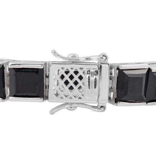 Boi Ploi Black Spinel (Sqr) Bracelet (Size 7) in Rhodium Overlay Sterling Silver 58.19 Ct, Silver wt 17.70 Gms