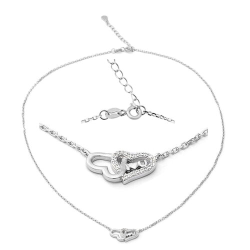 ELANZA Simulated Diamond (Rnd) Adjustable Necklace (Size 17 with 1 inch Extender) in Rhodium Overlay