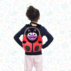 Cute Beetle Kids Backpack (Size 31x23x9cm) - Black and Red