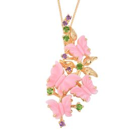 Pink Mother of Pearl (6.00 Ct),Russian Diopside,African Amethyst Sterling Silver Pendant With Chain