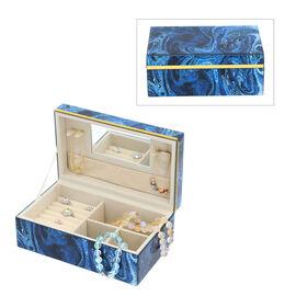 Lapis Gemstone Jewellery Storage Box with Golden Rim and Inside Mirror (Size 21x13x8.5 cm)