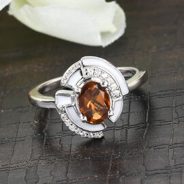 GP Art Deco Collection - Serra Gaucha Citrine, Natural Cambodian Zircon and Multi Gemstone Enamelled Ring in Platinum Overlay Sterling Silver