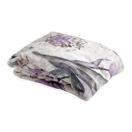 Floral Pattern Microplush Blanket (Size 150x200 Cm) - White Colour