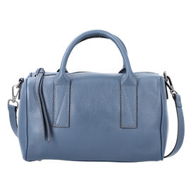 Sencillez Solid Blue 100% Genuine Leather Convertible Bag with Zipper Closure