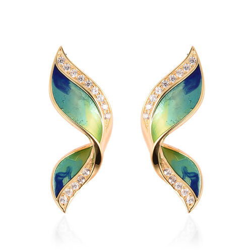 GP Zircon and Blue Sapphire Enamelled Butterfly Wing Stud Earrings in Gold Plated Silver