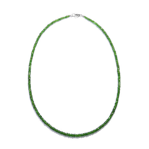 Limited Edition- Russian Diopsode (Rnd) Beads Necklace (Size 18) in Rhodium Plated Sterling Silver 44.000 Ct