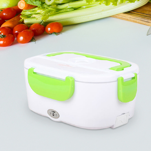 Portable Electric Heating Lunch Box in White & Green (Size:23.5x16.5x10.5cm)