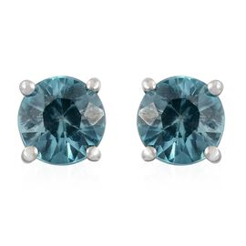 AA Blue Zircon Stud Earrings (with Push Back) in 9K White Gold 1 Carat