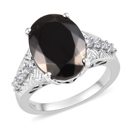 4 Carat Elite Shungite and Cambodian Zircon Solitaire Ring in Platinum Plated Sterling Silver