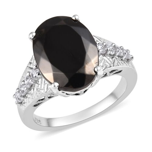 4 Carat Elite Shungite and Cambodian Zircon Ring in Platinum Plated Sterling Silver