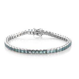 Grandidierite (Princess Cut) Tennis Bracelet (Size 7) in Platinum Overlay Sterling Silver 8.50 Ct, S