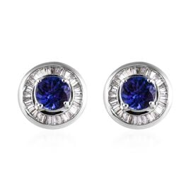 ILIANA 1.75 Ct AAA Tanzanite and Diamond Halo Stud Earrings in 18K White Gold 4.30 Grams